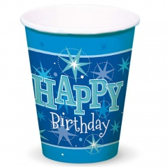 Happy Birtday Paper Party Cups, 250 ml, Qualatex 45622, Pack of 8 pieces
