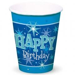 Pahare carton Happy Birthday pentru petrecere,  250ml, Qualatex 45622, Set 8 buc