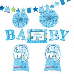 Decoration Kit Welcome Baby Boy, Amscan A241491, Pack of 10pieces