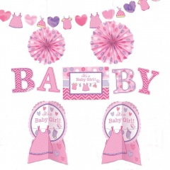 Kit decor Welcome Baby Girl, Amscan 241489, Set 10buc