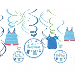 Tweet It's a Baby Boy Swirl Value Pack Decorations, Amscan 671491. Pack of 12 pieces