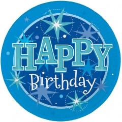 Farfurii petrecere 23 cm Happy Birthday, Qualatex 45631, Set 8 buc