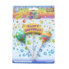 Lumanari aniversare pentru tort asortate cu mesajul Happy Birthday, Radar 51103, Set 3 buc