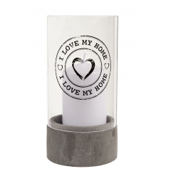 Lumanare decorativa cu suport din sticla - I love my home, 8 x 16 cm, Radar 137203