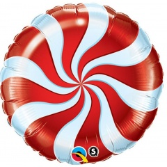 "Round Candy Swirl Red Foil Balloon, Qualatex, 18"", 64329"