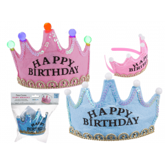Coronita party cu leduri - Happy Birthday, 16 x 9 cm, Radar 181072