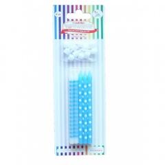 Lumanari asortate dungi si buline bleu pentru tort, 51171, Set 10 buc