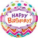 Balon Folie 45cm Happy Birthday Multicolor, Qualatex 28124