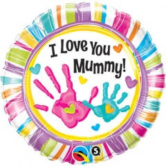 Balon Folie 45cm Botez - I love you mummy, Qualatex 90581