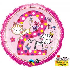 Balon folie 45 cm cu cifra 2 - roz, Qualatex 22999