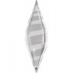 """Balon Folie Figurina Taper Argintiu cu Spirale - 38""""/96cm, Qualatex 15568"""