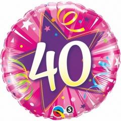 Balon Folie 45 cm Numarul 40 - Roz, Qualatex 25255