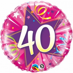 Number 40 foil balloon - pink, 45 cm, Qualatex 25255
