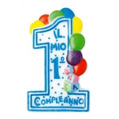 Lumanare aniversara de tort albastra cu cifra 1 pentru baietel, Radar 51472, 1 buc