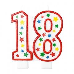 Lumanare aniversara pentru tort 18 ani, Multicolor, Radar 51203, 1 buc