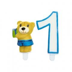 Lumanare aniversara de tort cu cifra 1 + figurina ursulet, Radar 51124, Set 2 buc