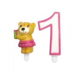 Lumanare aniversara de tort cu cifra 1 roz + figurina ursulet, Radar 51125, Set 2 buc