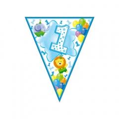 Banner fanioane animalute 1st birthday bleu - 3.6 m, Radar 54194