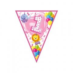 Banner fanioane animalute 1st birthday roz - 3.6 m, Radar 54195