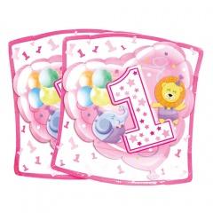 Farfurii petrecere 1st brithday 19 cm pentru fetita, Radar 63231, Set 10 buc
