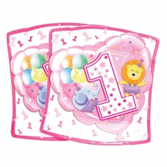 Farfurii petrecere 1st brithday 24 cm pentru fetita, Radar 63230, Set 10 buc