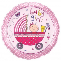 Balon Folie 45 cm Baby Girl, Qualatex 50294