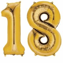 Pachet baloane folii mari numarul 18  auriu - 86cm, Amscan 33813