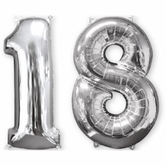 "34""/86 cm Silver 18 Shaped Foil Balloon, Amscan 33866"