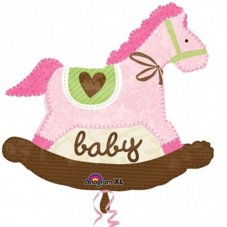 Baby Pink Rocking Horse SuperShape Foil Balloon, Amscan, 74x66 cm, 24977