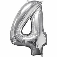 Balon Folie Cifra 4 Argintiu - 66cm, Anagram 31958