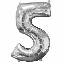 Balon Folie Cifra 5 Argintiu - 66 cm, Anagram 31959