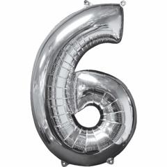 Balon Folie Cifra 6 Argintiu - 66cm, Anagram 31960