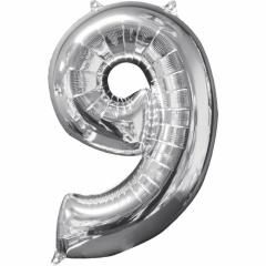 Balon Folie Cifra 9 Argintiu - 66cm, Anagram 31963