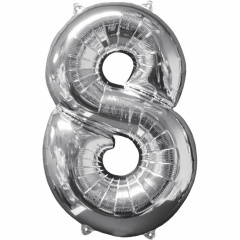 Balon Folie Cifra 8 Argintiu - 66cm, Anagram 31962