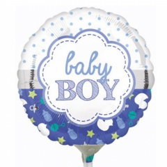 "09"" Round Foil Holographic Welcome Baby Boy Stars, Qualatex 41941"