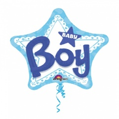 """36"""" Star Foil Holographic Welcome Baby Boy Stars, Qualatex 16614"""