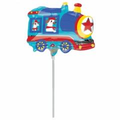 Balon mini figurina Tren- 25x17cm, umflat + bat si rozeta, Amscan 34583