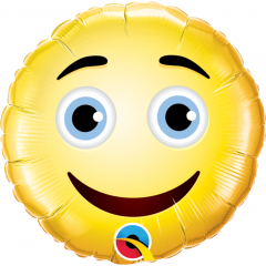 Balon Mini Folie Smiley Face - 23 cm, umflat + bat si rozeta, Qualatex 49411