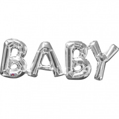 """Baby"" Gold Super Shape Foil Balloon, 66 x 22cm, Amscan 33763"