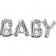 Balon folie figurina Baby argintiu - 66 x 22cm, Amscan 33106