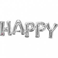 Pachet Litere Happy Argintiu - 76 x 25 cm, Amscan 33100