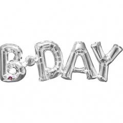 Pachet baloane litere b-day argintiu - 66 x 22 cm, Amscan 33102