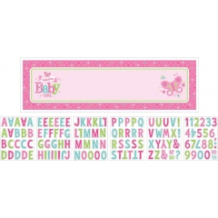 Banner decorativ roz pentru petrecere personalizat Welcome Baby Girl  165.1 X 50.8cm, Amscan 121458