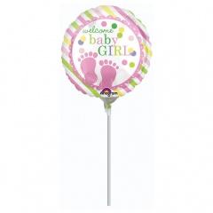 Balon Mini Folie Welcome Baby Girl 23 cm - umflat + bat si rozeta, Amscan 32179