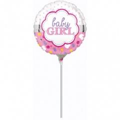 Balon Mini Folie Baby Girl 23 cm - umflat + bat si rozeta, Amscan 33723