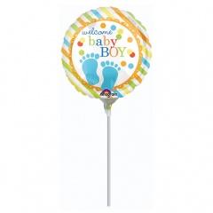 Balon Folie Mini Welcome Baby Boy 23 cm - umflat + bat si rozeta, Amscan 32178