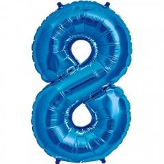 Balon folie mare cifra 8 albastru - 86cm, Amscan 28294