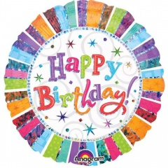 Balon Folie 45 cm Happy Birthday Radiant, Amscan 11998