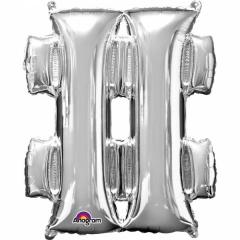 Balon Folie Mare Simbol Hashtag Argintiu - 86 cm, Amscan 33003