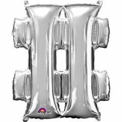 Balon Folie Simbol Hashtag Argintiu - 41 cm, Amscan 33066